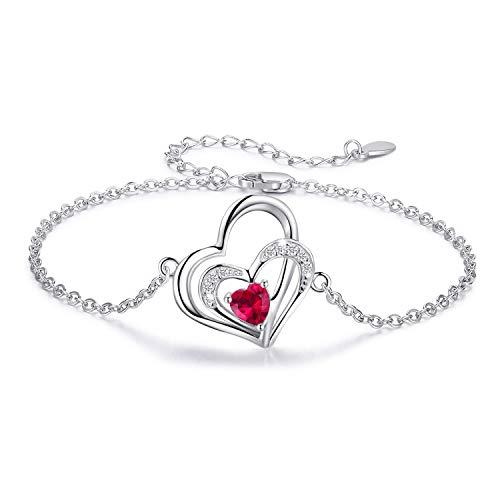 Armband Herz Damen 925 Sterling Silber Doppel Herz Anhänger mit Zirkonia für Frauen Mädchen Freundin Mutter - Lehrer Armband Silber