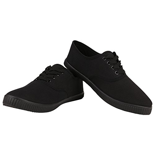 Sportliche Damen Herren Sneakers   Unisex Basic Freizeit Schuhe   Schnürer Stoffschuhe   Prints viele Farben Schwarz Black