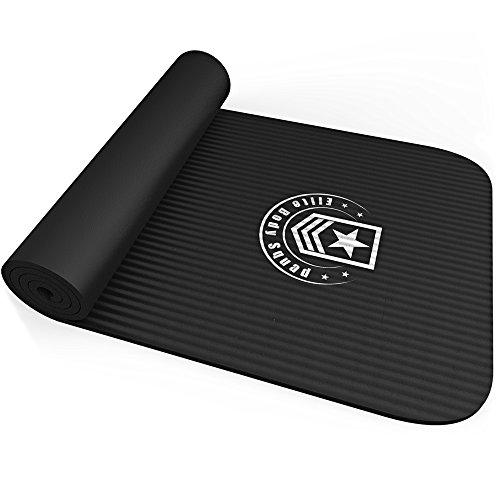 Tappetino esercizi - Elite Body Squad Premium – In gomma NBR di ottima qualità – Spessore di più di 10mm + leggero con comoda maniglia per la spalla – Soddisfazione garantita o rimborso del 100%