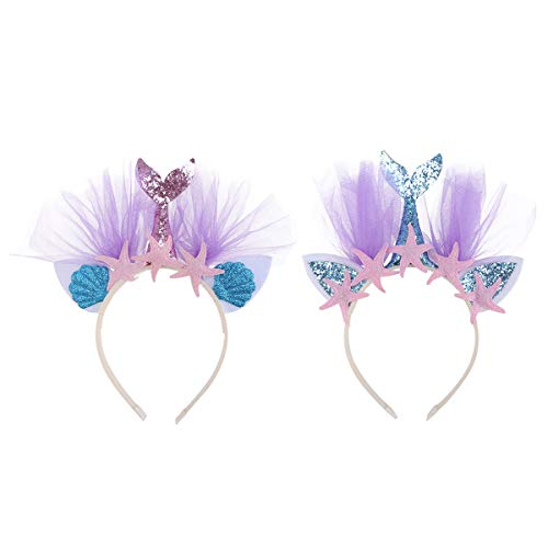 Stirnband mit Seestern Haarband Kinder Glitzer Tüll Haarreif Haarschmuck Kopfschmuck Kopfbedeckung für Mädchen Frauen Geburtstag Party Kostüm Zubehör 2 Stücke ()