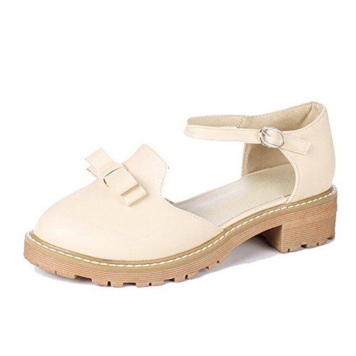 VogueZone009 Femme à Talon Bas Pu Cuir Couleur Unie Boucle Rond Chaussures Légeres Abricot