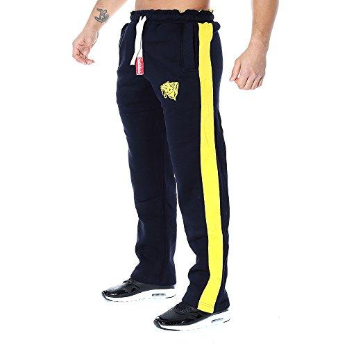 SMILODOX Herren Jogginghose 'Coovveer' | Trainingshose für Sport Fitness Gym Training & Freizeit | Sporthose - Jogger Pants - Sweatpants Hosen - Freizeithose Lang, Farbe:Blau/Gelb, Größe:L