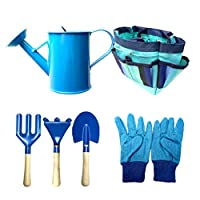 STOBOK Cute Gardening Tool Set Gardener Play Toy kit Gloves Spade Rake Fork Watering Can with a Carrying Bag for Kids (Blue)