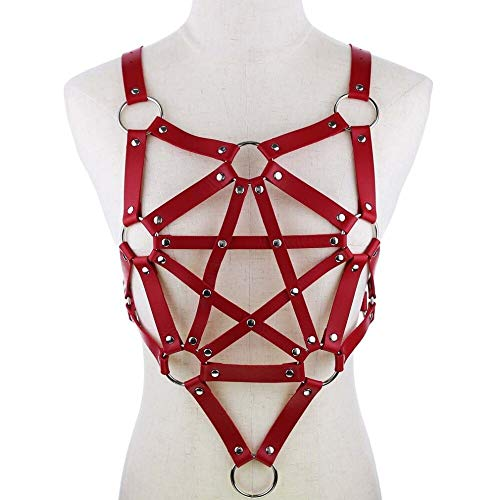 RQZQ Body Chain Pentagram Leder Harness Gothic Punk Sexy Träger Top Brustkorb Body Bondage Frauen Körperschmuck Festival Fashion Rave Outfit