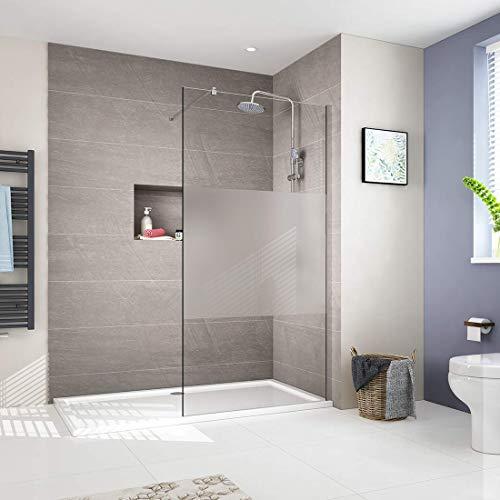 Walk in Duschwand Duschtrennwand 8mm ESG Nano Milchglasstreifen Glas Walk-In Dusche Duschkabine Duschabtrennung 90x200cm