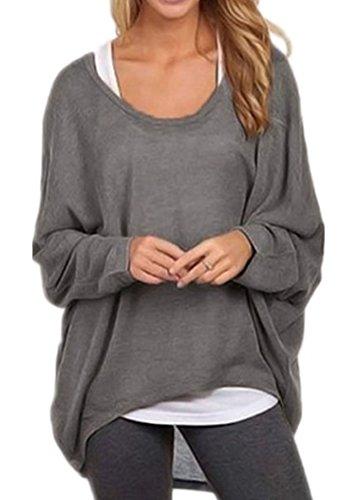 Kleid Jumper Top (KaKing Damen Lose Asymmetrisch Jumper Sweatshirt Pullover Bluse Oberteile Oversize Tops (Small, Grau))
