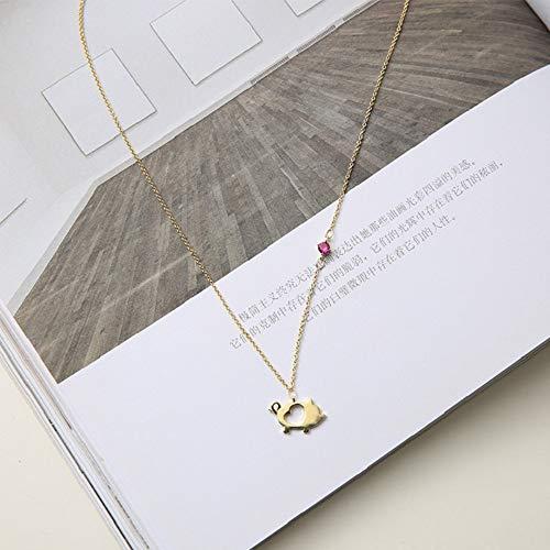 TLLAMG Halskette Winzige Zierliche Gold Gefüllt Erste Halskette Lila Strass Charm Voller Zirkon Niedlichen Schwein Anhänger Halskette Für Frauen Schmuck - Schwein-anhänger-halskette