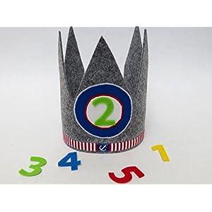 Geburtstagskrone in grau und blau mit 3 auswechselbaren Zahlen und Gummizug / Einheitsgröße