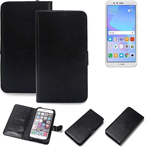K-S-Trade Wallet Case Handyhülle für Huawei Y6 (2018) Dual-SIM Schutz Hülle Smartphone Flip Cover Flipstyle Tasche Schutzhülle Flipcover Slim Bumper schwarz, 1x