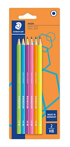 Staedtler Noris Eco 180F BK6. Lápices ecológicos fabricados en WOPEX. Blíster con 6 lápices HB lacados en colores neón.