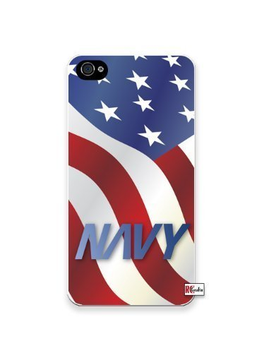 US Navy American Flag United States Apple Iphone 4 Quality TPU Soft Rubber Case for Iphone 4/4s - AT&T Sprint Verizon - White Case by