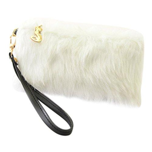 Coafit pochette da donna borsetta da sera cena festa pelliccia ecologica borsa della frizione