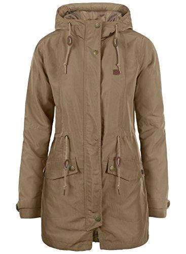 DESIRES Sakura Damen Übergangsmantel Parka Lange Jacke Mit Kapuze, Größe:XL, Farbe:Shitake Br (5323)