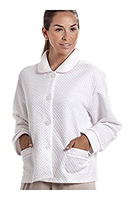 Camille Womens Ladies White Bed Jacket With a Pink Dot Print by Camille