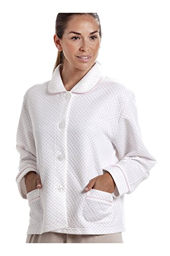 - 41PZWiqpqpL - Camille Womens Ladies White Bed Jacket with a Pink Dot Print