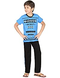 Just4You Boy's Sporty Night Wear T-Shirt and Track Pant Set by