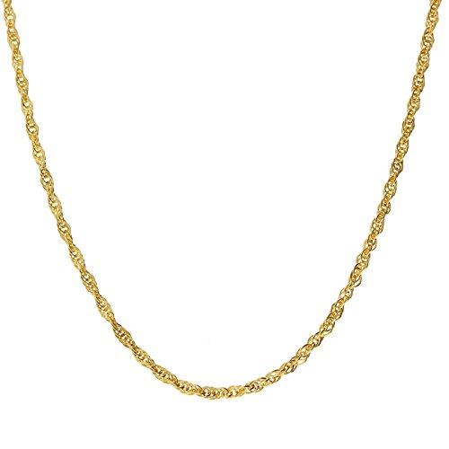 Latotsa 14 Karat 585 Gelbgold Gold Ankerkette Kette Halskette Anker Goldkette gedreht Schmuck Collier 45cm