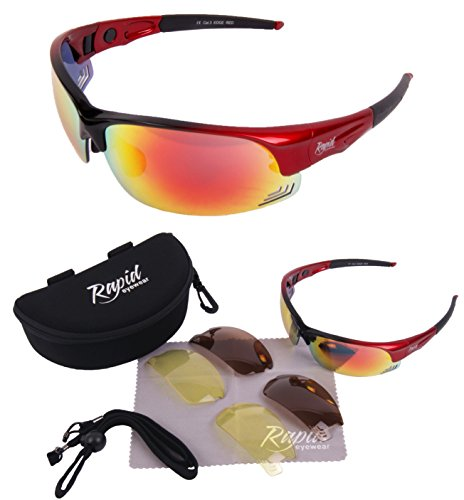 Preisvergleich Produktbild Edge Rot Polarisierte Sport Sonnenbrille Mit Wechselgläsern (x3: orange verspiegelt,  braun polarisierte + gelbe gläser) und Zubehör. UV schutz 400. Für Herren und Damen