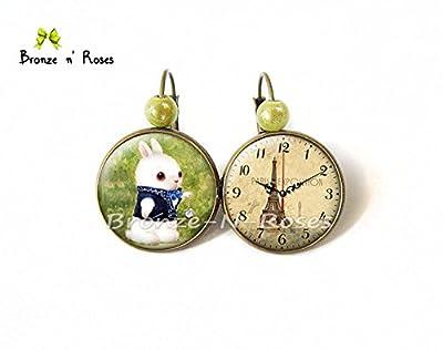 Boucles d'oreilles Lapin blanc à la montre Alice au pays des merveilles dormeuses cadeau Noël