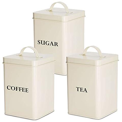 Andrew James Tea, Coffee and Sugar Canister Set / Jar In Retro Vintage Cream 3 Piece (Cream - Serif)