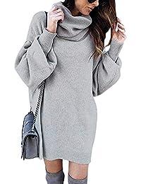 48358a32388 Minetom Damen Pullover Kleid Rollkragen Minikleid Winterkleid Strickkleid  Warm Langarm Oversize Stricksweat Strickpullover Lose Sweatkleid