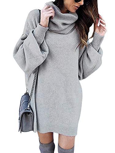 Minetom Pull Robe Courte Femme Hiver Manche Longue Casual Mini Dress Col Roulé Tricot Chandails Blouse Elégant Oversize Lâche Pullover Gris FR 38