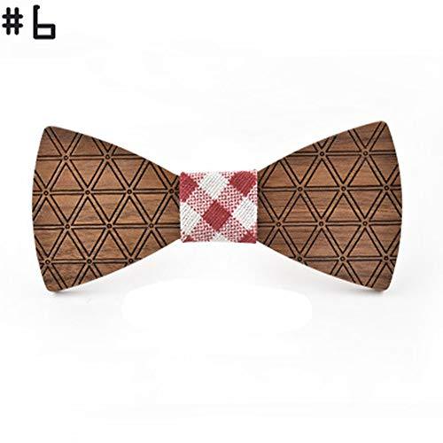 YAOSHI-Bow tie/tie Krawatten und Fliegen für Dreieck Print Holz Fliege Original Holz Fliege Anzug Shirt Hochzeit Holz Fliege Krawatten und Fliegen für (Farbe : 6, Größe : Free Size) (Dreieck Bow Tie)