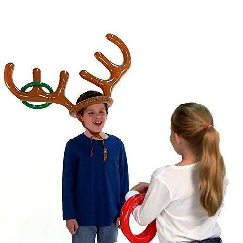 ne Rentier Geweih Stirnband mit Ringen Hoops Party Aufblasbares Wurfspiel Spielzeug für Weihnachten, Hochzeit, Geburtstag, Babyparty, Abschlussfeier ()