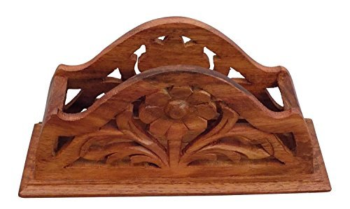 Wooden Napkin Holder /tissue Paper Holder with Carving... by Crafts'man ()