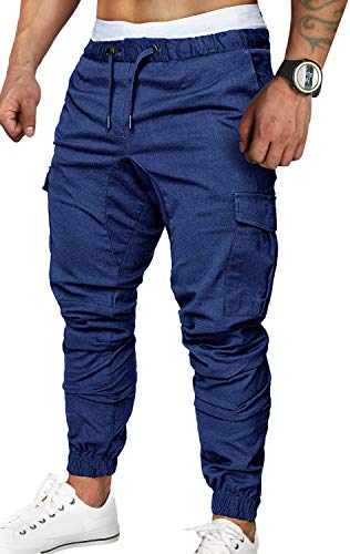 Zoerea Pantaloni Uomo Lunghi con Coulisse Tasche Laterali Maschio Cargo Pants Casual Sport Trousers Nero, XL