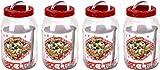 4 x runde Gläser mit rotem Schraubdeckel zum Einwickeln von Einmachgläsern 2 l