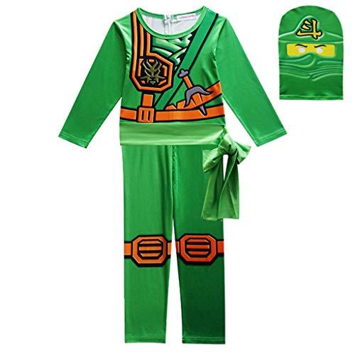 DMMDHR HalloweenParty Costumes Boys Clothes Superhero Cosplay Ninja Costume Girls Halloween Costume Party Dress Up Kids Dresses for Boys,Green,5T (Green Ninja Boy Kostüm)