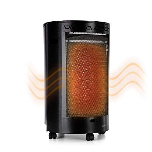 blumfeldt Bonaparte Catalyt - 2-stufig regelbares Gasheizgerät, Katalytofen, 2500 W, 13kg Gasflaschen, 182g oder 109g/h Verbrauch, elektrische Zündung, ODS-System, 4 Bodenrollen, schwarz