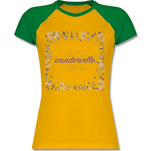 Statement Shirts - Inspirierende Zitate - Du kannst wundervolle Dinge - zweifarbiges Baseballshirt / Raglan T-Shirt für Damen Gelb/Grün