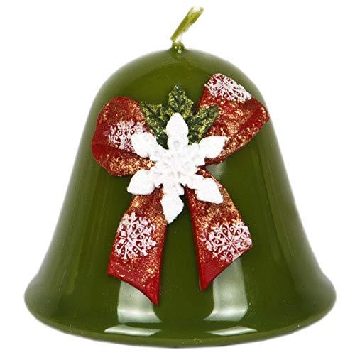 Vela Navidad campana 75x 85mm Copo de nieve esmalte color verde oliva Campana