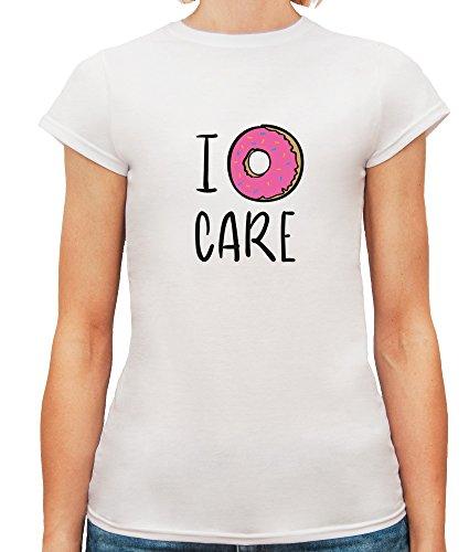 T-shirt da donna con I Donut Care Funny Illustration Slogan stampa. Girocollo. Large, Bianca
