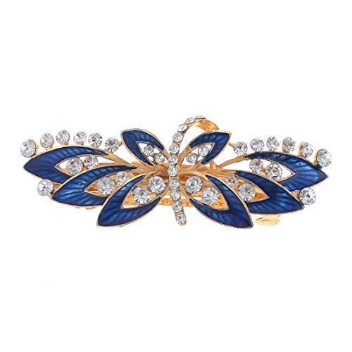 Clip cheveux - TOOGOO(R) Royal Blue Flower Design Faux strass incruste ton or clip francais