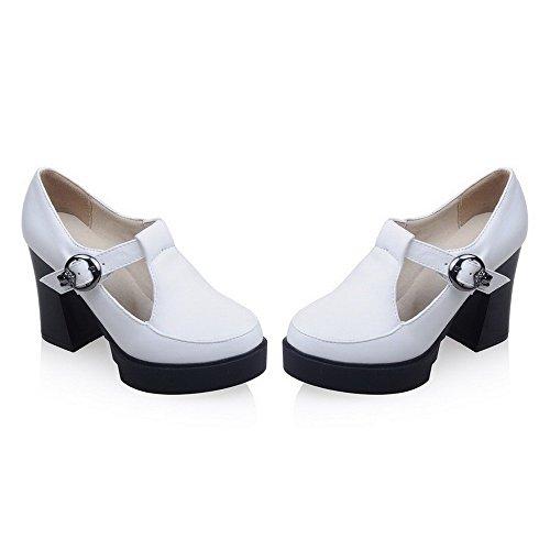VogueZone009 Femme Boucle Fermeture D'Orteil Rond à Talon Haut Pu Cuir Couleur Unie Chaussures Légeres Blanc