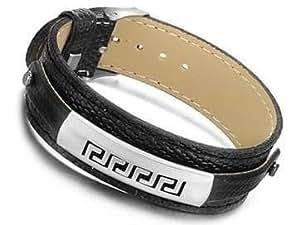 Armband aus schwarzem Kunstleder mit eingravierten Symbolen auf einer Edelstahlplatte symbol 1