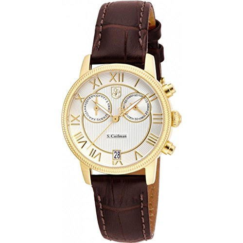 S Coifman SC0331 Ladies Brown Leather Chronograph Watch