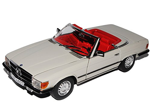 Preisvergleich Produktbild Mercedes-Benz 350SL R107 Cabrio Offen Silber Grau 1971-1989 1/18 Sun Star Modell Auto mit individiuellem Wunschkennzeichen