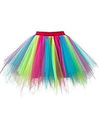 Feoya Tutu Rock Damen Petticoat Blase 50er Tütürock Rockabilly Kleid Kurz  Minirock Tüllrock Retro Unterrock Ballett d0ef7747a0