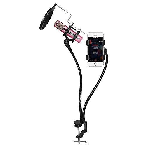 Electz Professioneller Mikrofonständer mit Handyhalter Pop-Filter Schwere Mikrofonaufhängung Scherenarmstativ und Windschutzmaske für Aufnahmen, Rundfunk und Gesang (Schweren Mikrofonständer-basis)