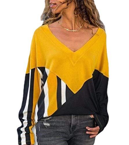 CuteRose Womens V-Neck Dolman Sleeve Pinstripe Spell Color Tops Blouse Tunic Yellow L - Dolman Sleeve-wrap