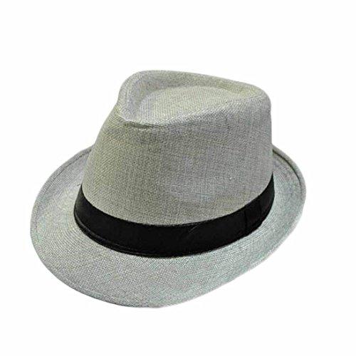Tonsee® Eté Automne Mode unisexe chapeau de plage formelle Trilby Gangster Straw Jazz Cap