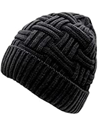EASY4BUY® Mens Winter Warm Knitting Hats Wool Baggy Slouchy Beanie Hat Skull Cap(Black)