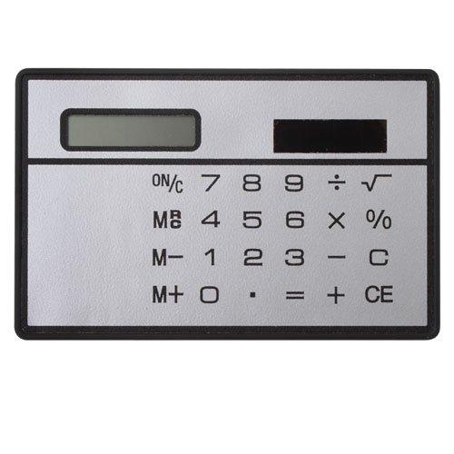 Zhuotop Mini Solarenergie Taschenrechner Kreditkartenformat Kompakt Solarrechner,Standardfunktion Tischrechner 8-stelliges Anzeige,Silber