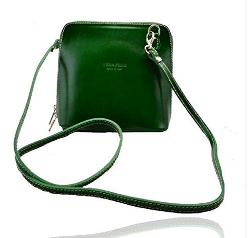 Da donna Fashion Designer piccola borsa a tracolla in pelle italiana di qualità cwv0026 Verde
