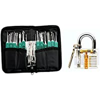 NS 32pcs lock pick set and a transparent padlock for players practice