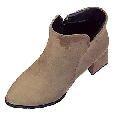 RTRY Scarpe Donna Cashmere Cadere Combattere Stivali Stivali Chunky Tallone Punta Tonda Zipper Per Casual Nero Marrone US6 / EU36 / UK4 / CN36